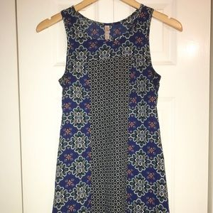 Blue Patterned Mini Dress with POCKETS